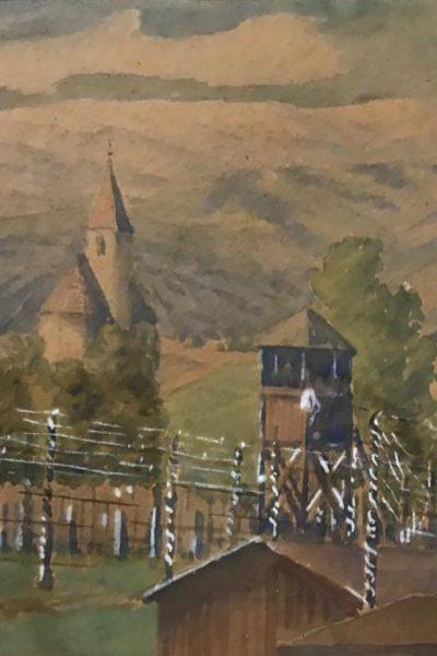 Pintura feita por um prisioneiro do campo de concentração que Ana Primavesi ficou no final da Guerra.
