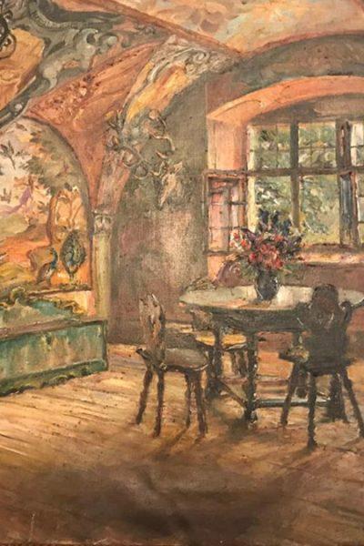 Quadro que retrata as pinturas da entrada do castelo Pichlholfen, onde Ana Primavesi nasceu